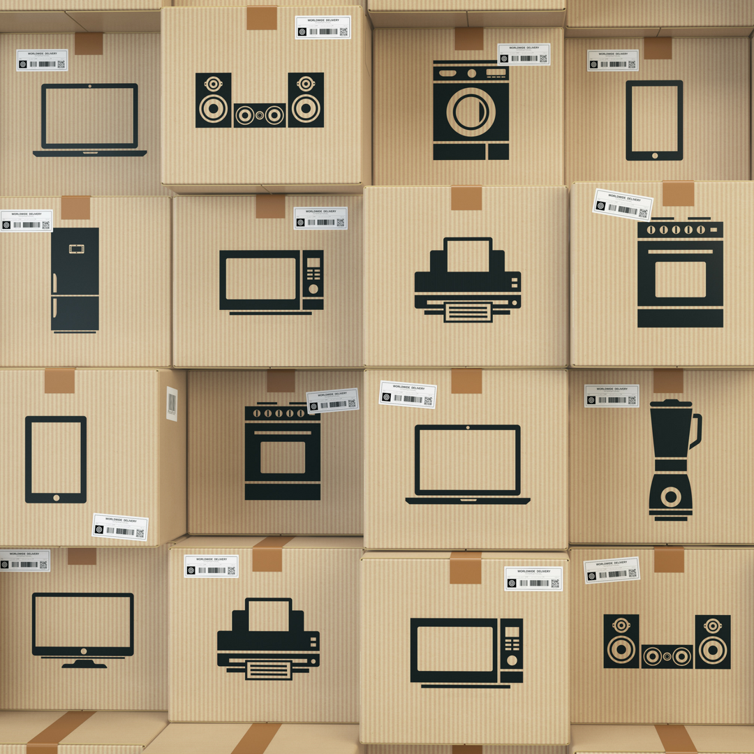 Boxes stacked up on top of eachother. Each box has a imae og a icon on them representing a device. Examples are computer monitors, tv's, printer, blender and fridge