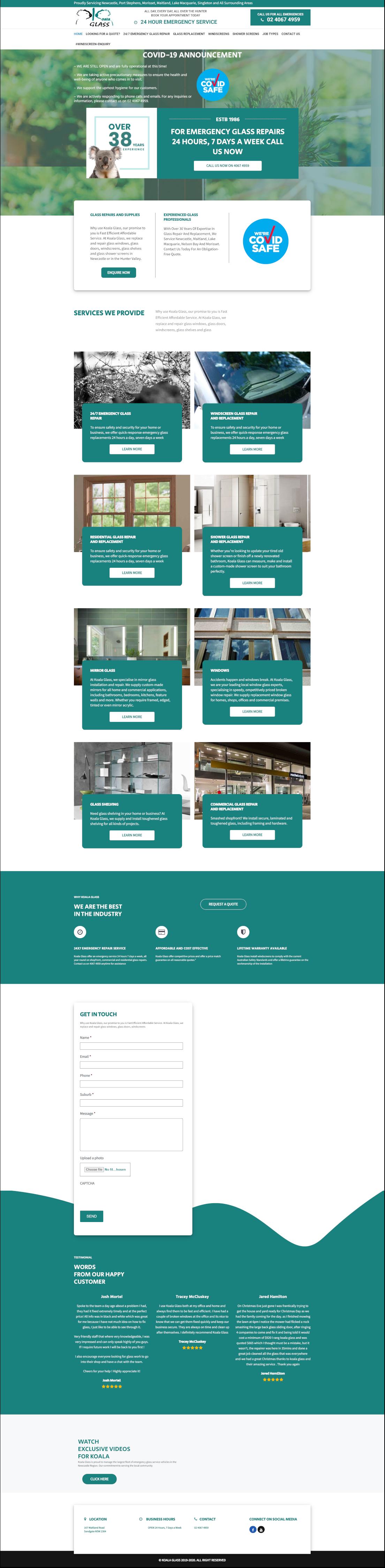 koalaglass full homepage