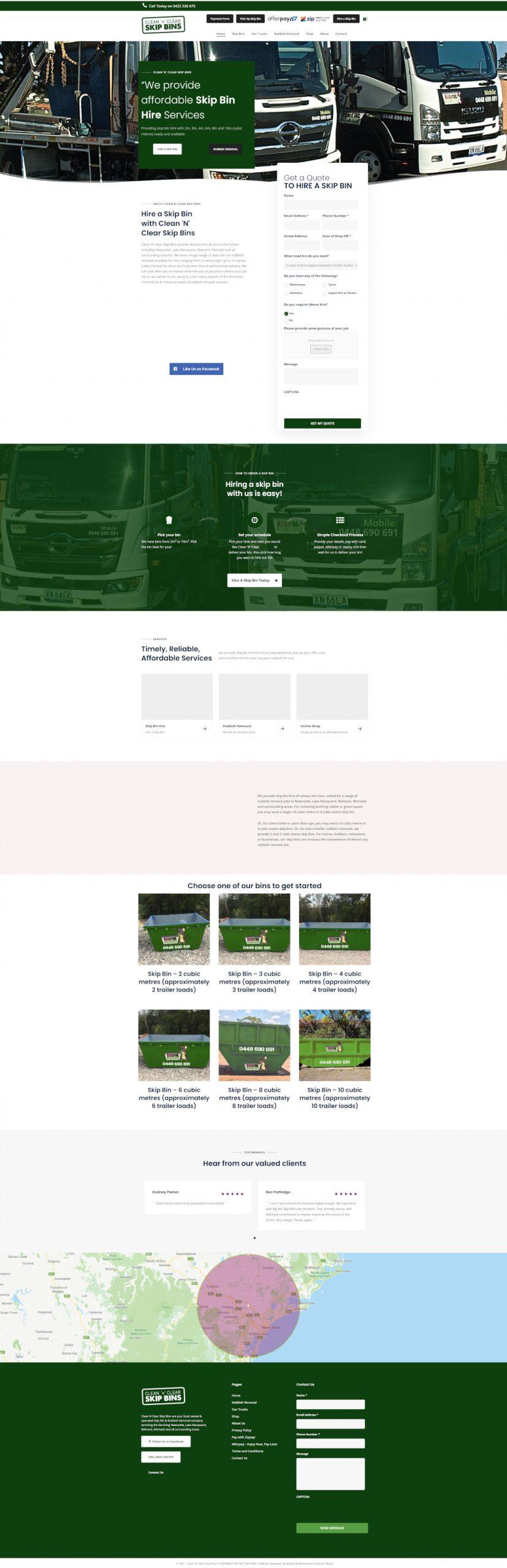 cleannclearskipbins full homepage