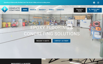 Complete Coatings website design and development completed by Bottrell Media